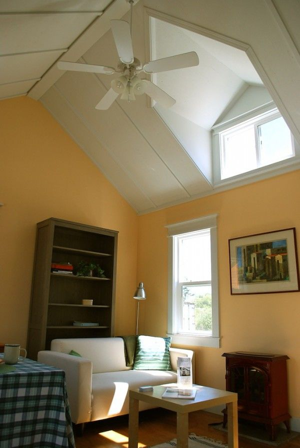Vaulted Ceilings With Dormers Make The Living Room Feel Airy House Of Dreams Pinterest