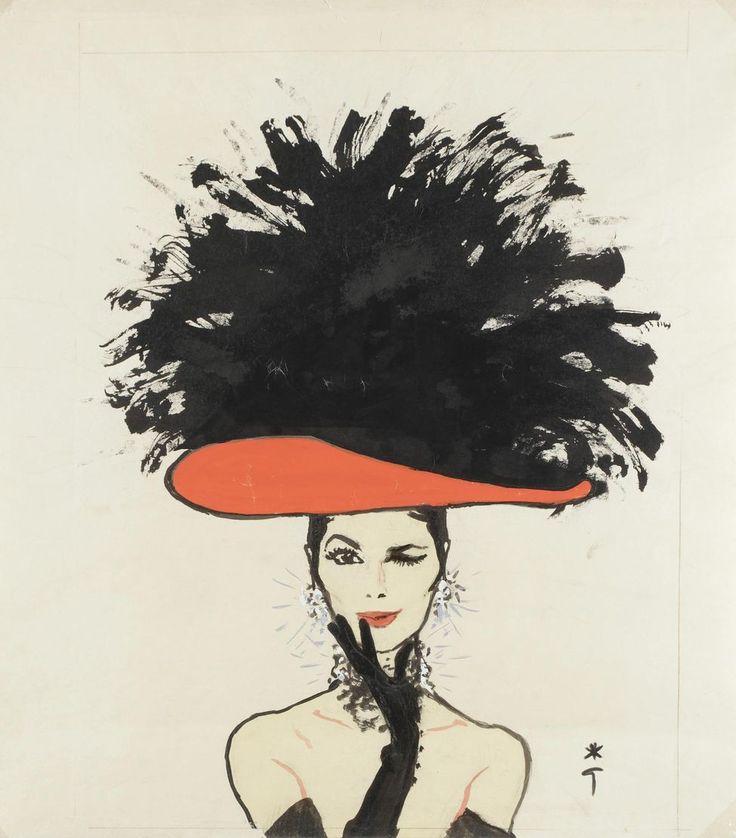 Kouka Fashion ModelParis Circa 1960 By Rene Gruau