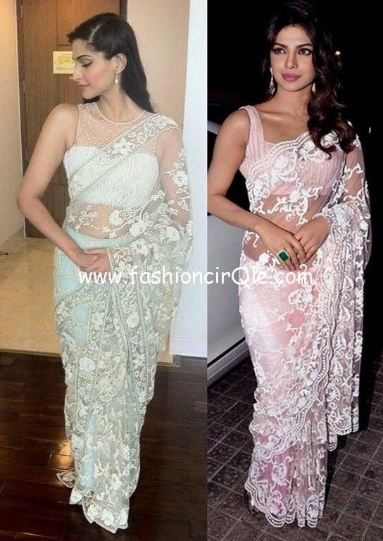 Sonam Kapoor And Priyanka Chopra In Shehlaa By Shehla Khan Lace Sarees Https