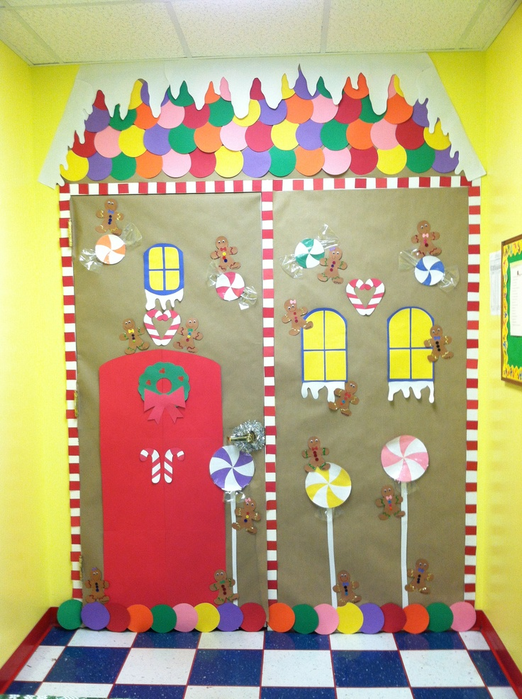 Mine and Kaitlyn's Gingerbread house classroom door for