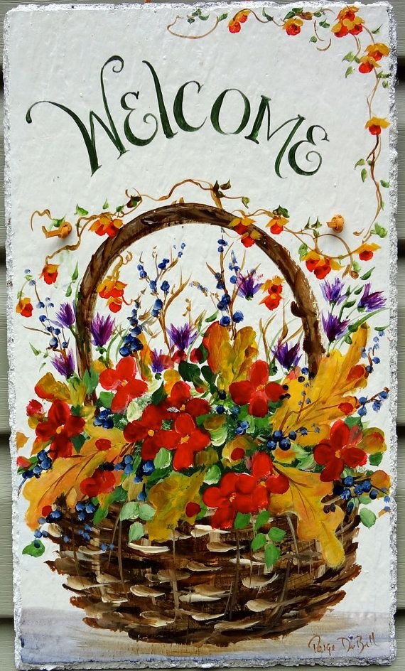 Autumn Sign Hand Painted Outdoor Slate Plaque
