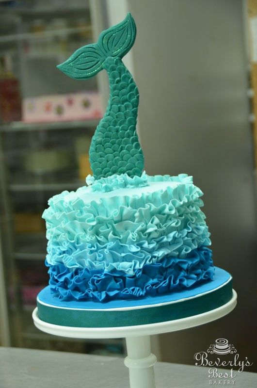 Ombre Fondant Ruffle Cake With Mermaid Tail By Beverlys