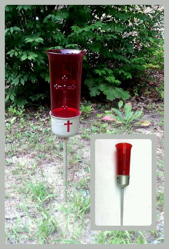 Votive candle holders, Red glass and Votive candles on