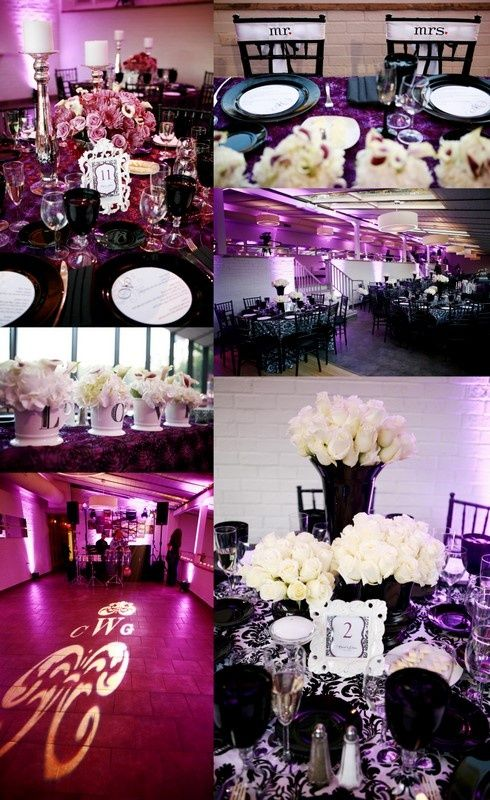 Black White And Purple Wedding I Like The Magenta Pink