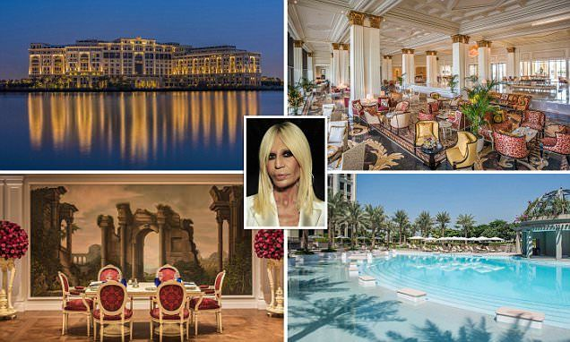 Versace's five-star resort in Dubai is meant to look like a 16th-century Italian palace and is truly one of a kind, as every piece of furniture and fabric was made exclusively for the hotel.: