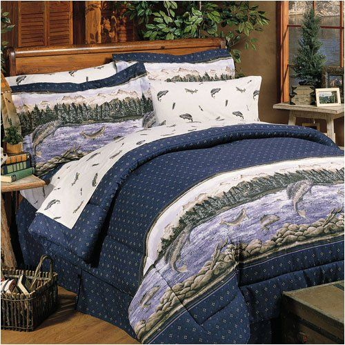 Trout Lake Fishing Decor Bedding Set Full Http