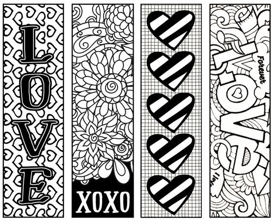fun valentine's bookmarks for children to color and give