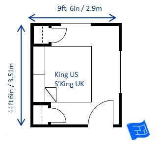 The Minimum Bedroom Size For A King Bed Super Uk Is 9ft 6in