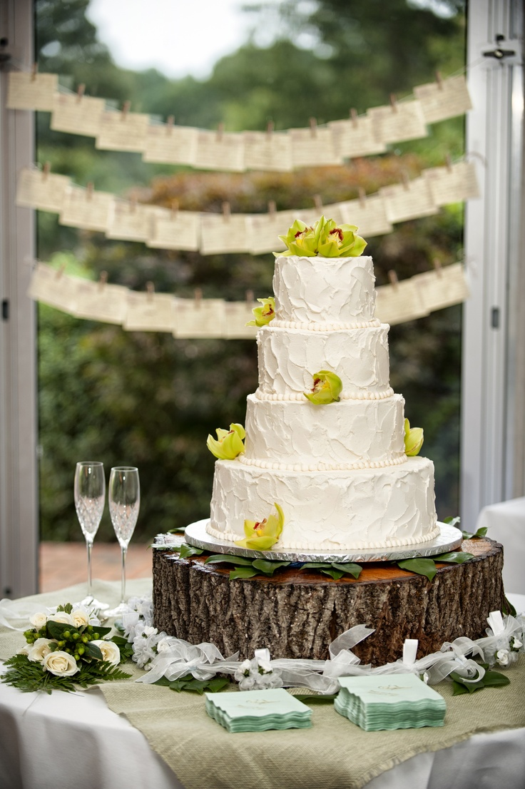 tree trunk cake stand and shabby chic wedding cake. very