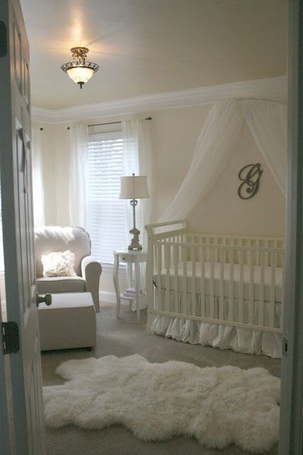 All white vintage baby girl's nursery…the idea of all white for baby is nice