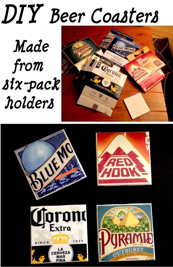 DIY Beer Coasters – Or if you dont drink you could make these from any kind of cardboard container that has something you like !