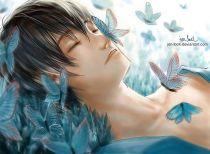 Fairy boy with blue butterflies