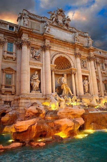 Trevi Fountain, Rome Italy – tradition says throw a coin in the fountain and you will return to Italy again in your lifetime!