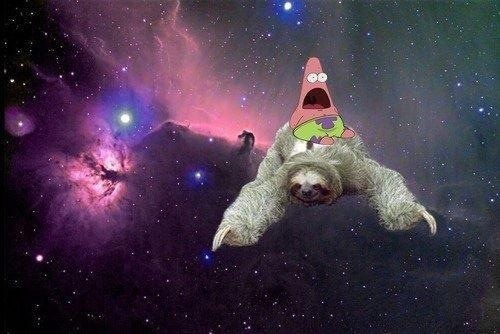 Patrick Riding A Sloth In Outer Space PATRICK STAR