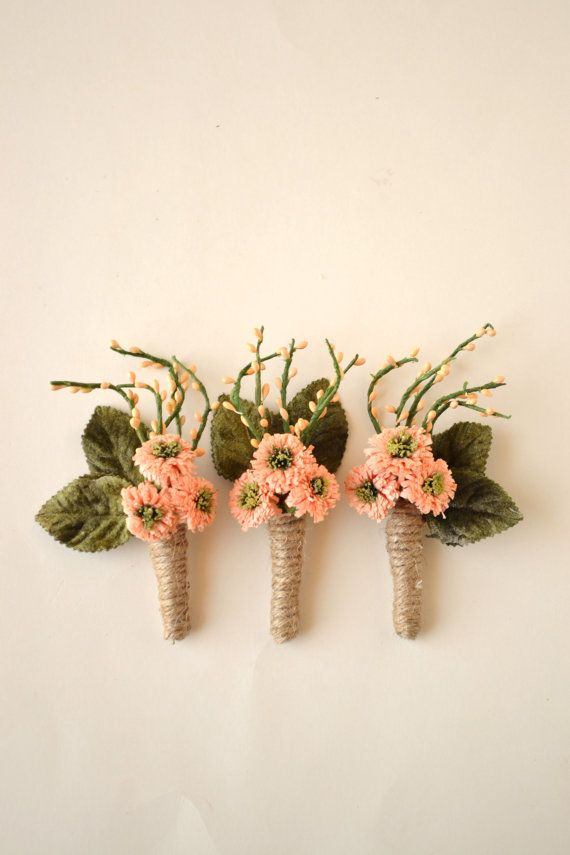 Peach Flower Boutonniere Rustic Boutonniere Woodland By