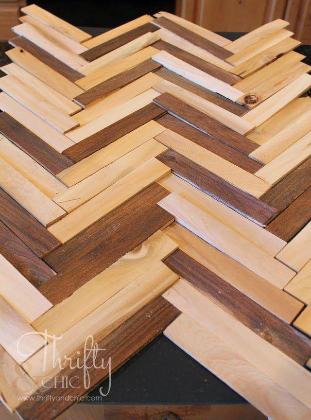 DIY Herringbone Pattern Wall Art Using Wood Shims DYI