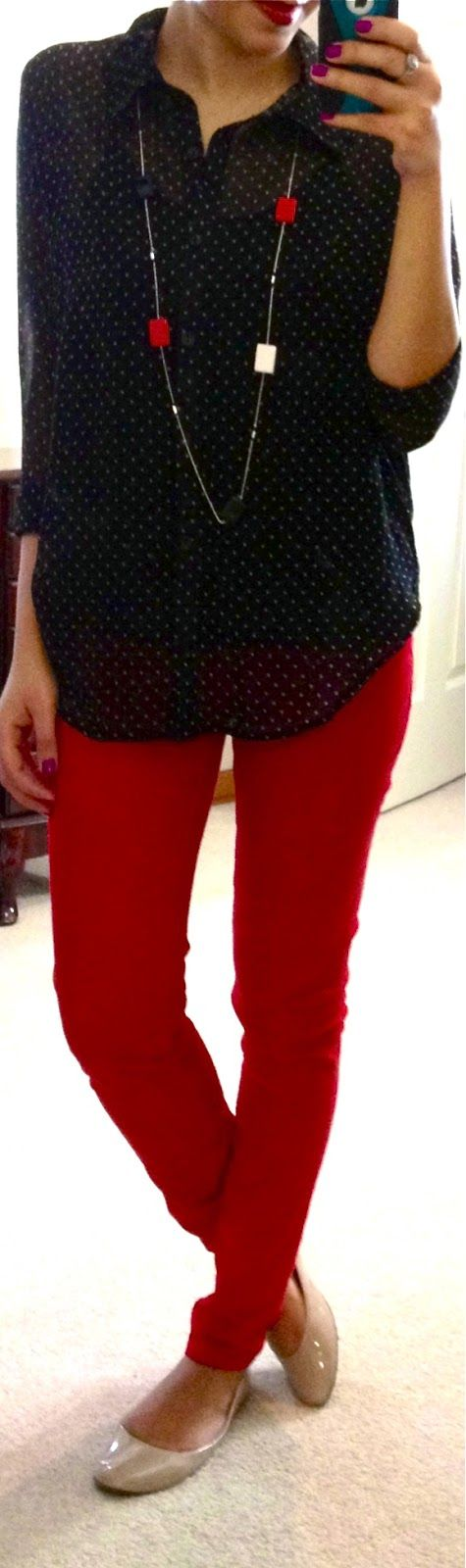 red skinnies, dot shirt, long necklace & nude flats. Also look good with dot skinnnies & red shirt