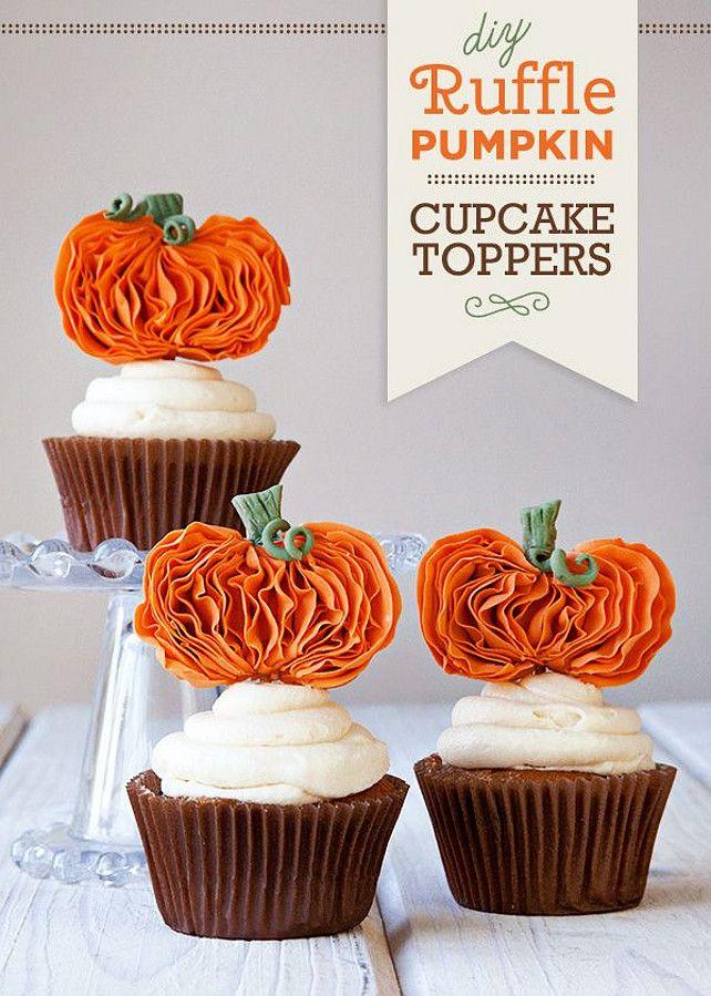 DIY Thanksgiving Decor Ideas. DIY Ruffle Pumpkin Cupcake