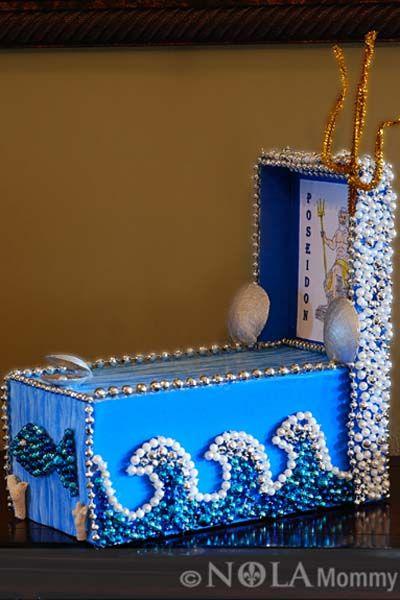 Mardi Gras Beads Make Waves Shoe Box Parade Float Shoe
