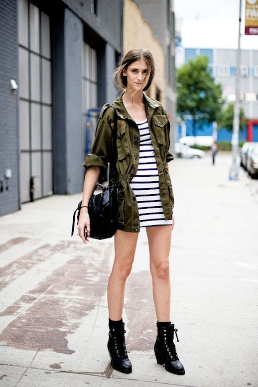 Resultado de imagem para look street militar semana moda 2017