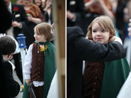 Normally dont post wedding stuff…but the ring bearer dressed up as Frodo?!?!  BRILLIANT!