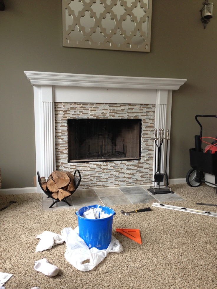 DIY fireplace mantel with mosaic tile Home Decorating