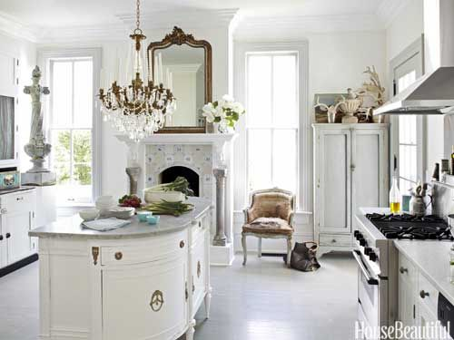 A beautiful white kitchen - antique island