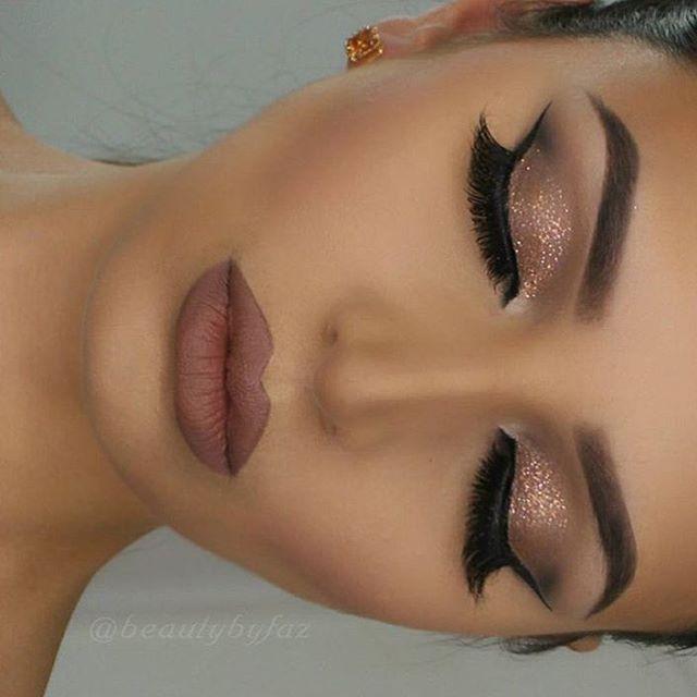 shimmery smokey eye makeup, tawny lips
