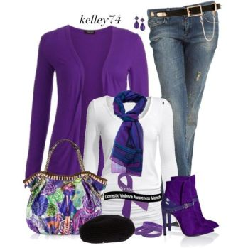"""October is Domestic Violence Awareness Month"" by kelley74 on Polyvore:"