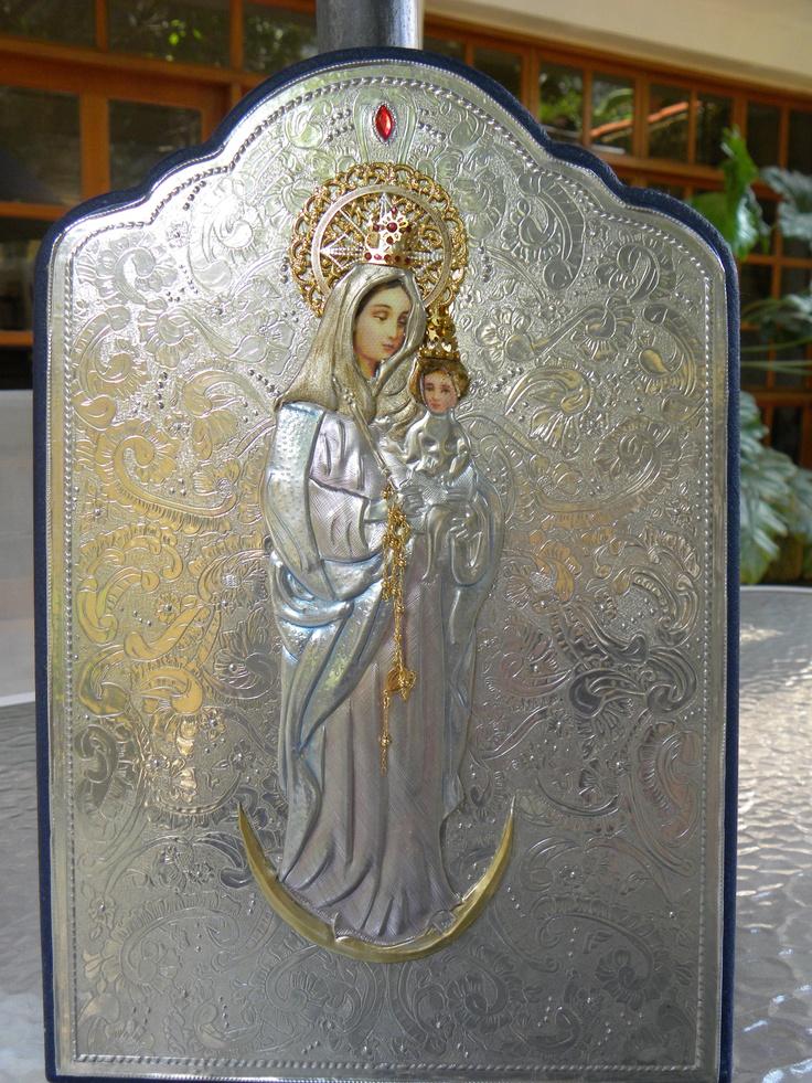 Virgen De Chiquinquir Repujado En Estao Elaborado Po
