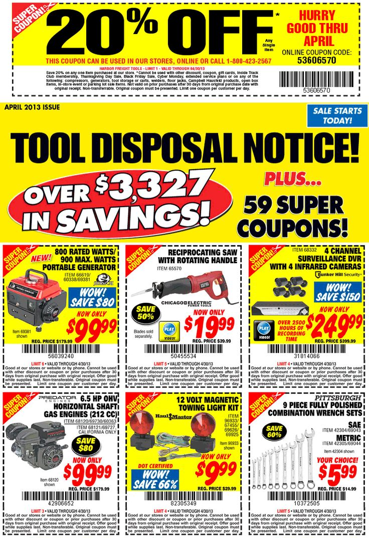 Pinned April 17th 20 off a single item at Harbor Freight