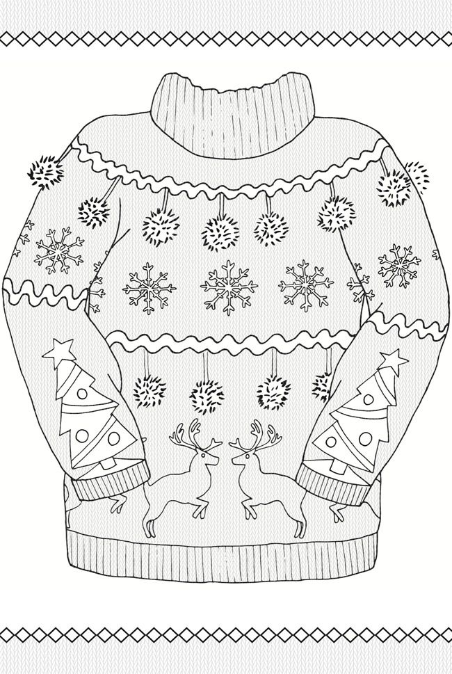 Creative Haven UGLY HOLIDAY SWEATERS Coloring Book By