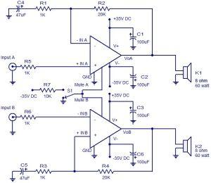 2X60 watt Amplifier using LM4780 | Electronic Circuits