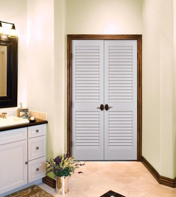 Primed White Louvered Doors by HomeStory Doors HomeStory