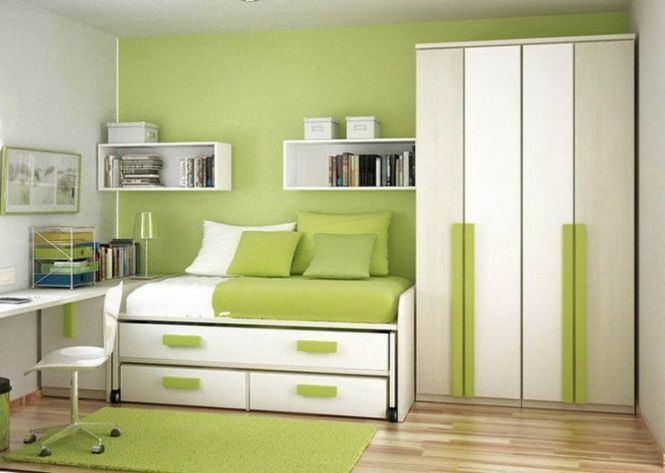 Green Color Small Bedroom Cabinet Designs