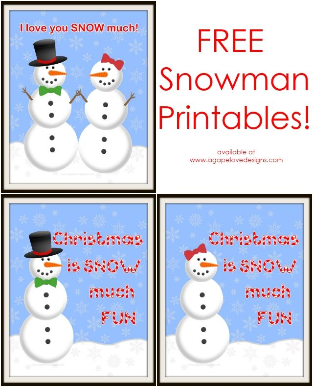 Agape Love Designs Amp Photography Free Snowman Printables