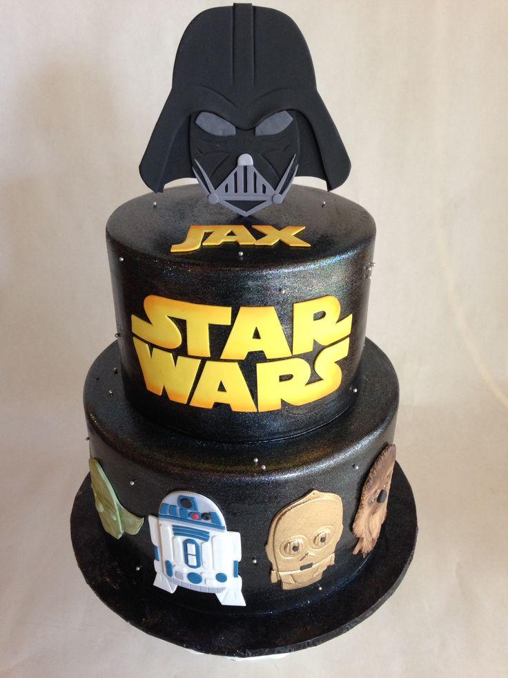 Birthday Cake Star Wars Fondant Darth Vader R2d2