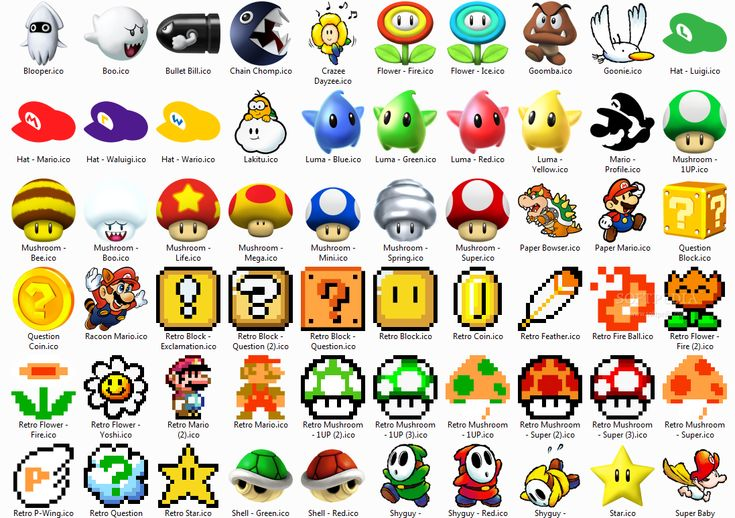 SuperMarioIcons_1.png (1097×773) Video Game Symbols