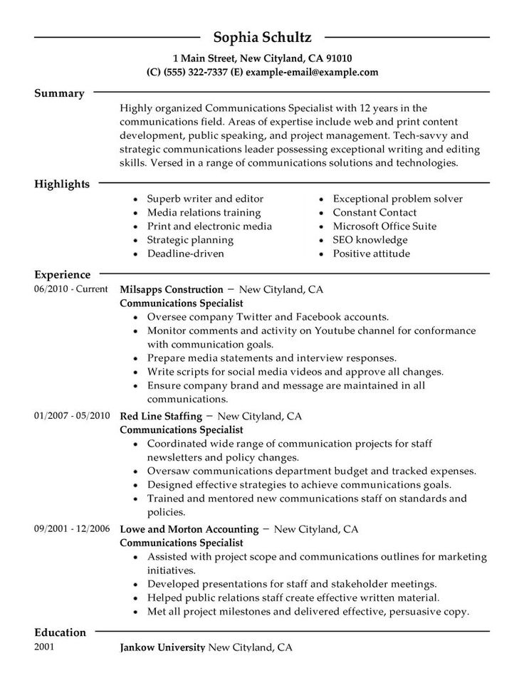 Big Communications Specialist Example Modern 2 Design