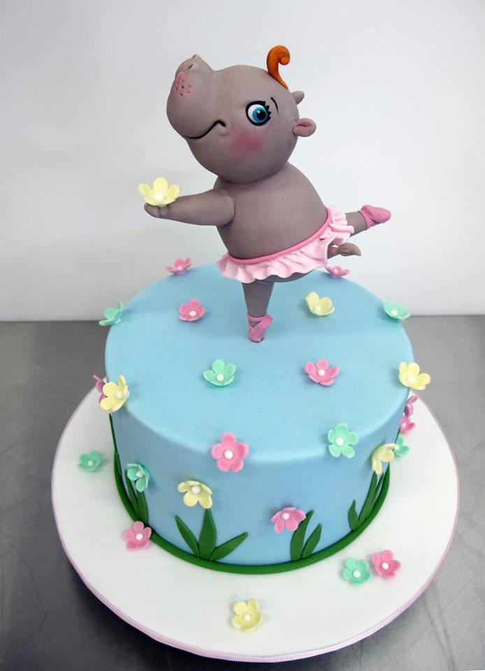 Pink Yellow Amp Mint Flowers On Blue Cake With Hippo In