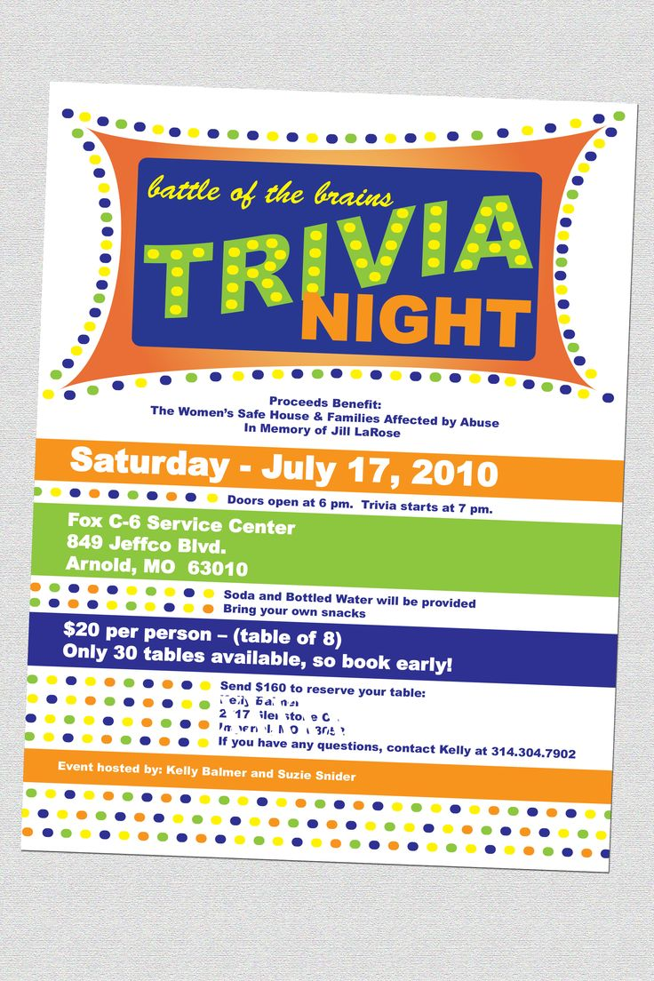 Trivia Night Flyers Designs and Photography by Kristin