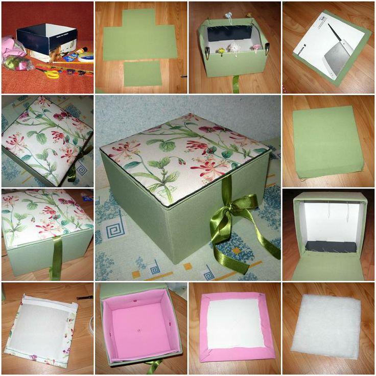 How to make Beautiful Cardboard Textile storage unit step