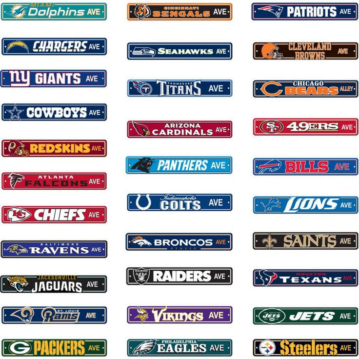"NFL Street Sign (Choose Your Favorite Team Name) 4""x24"