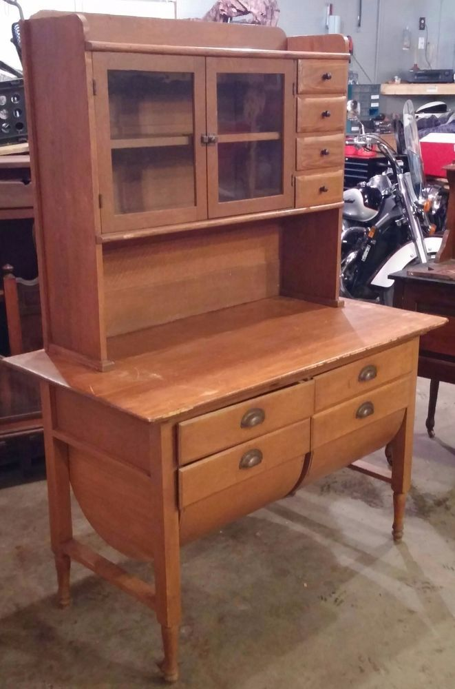 ANTIQUE Sow Belly Hutch Bakers Cabinet Table SUPER