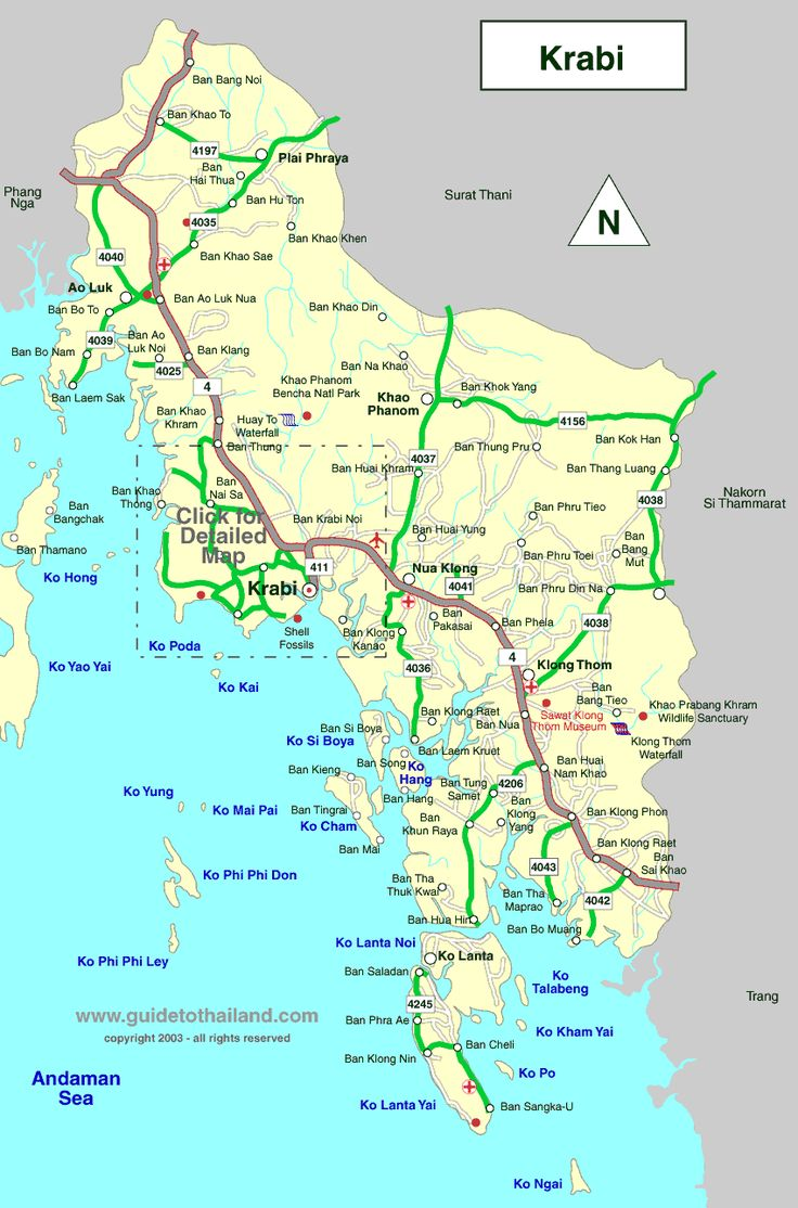 map of krabi, thailand travel map while in Thailand
