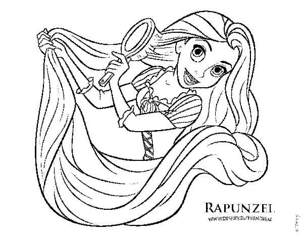 Dibujo De Enredados Rapunzel Peinndose Para Colorear