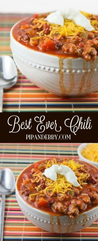 Best EVER chili! This is our favorite chili recipe of all time. We make this delicious soup multiple times every winter.: