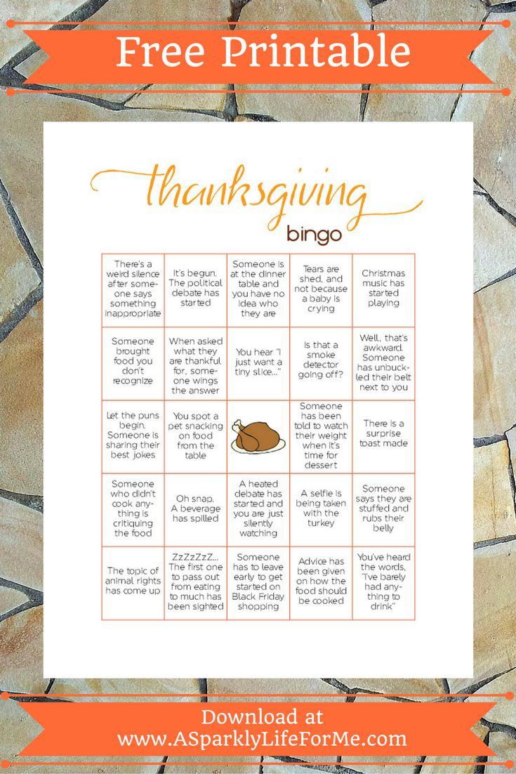 Free Thanksgiving Bingo Game Printable for Adults Autumn
