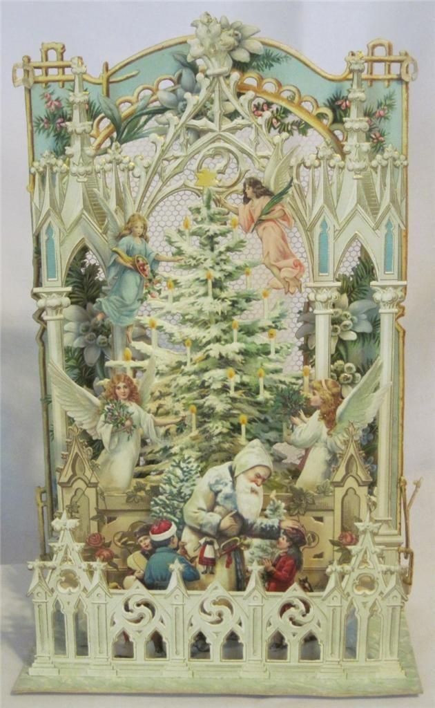 German Antique Victorian Stand Up Die Cut 3D Christmas