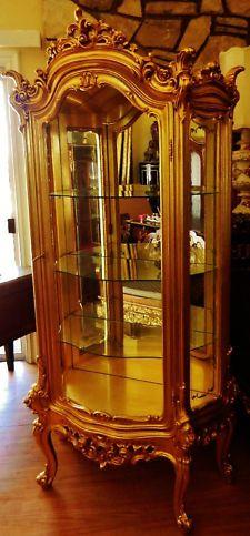 French Rococo Gold Gilt Curio Display Cabinet Armiore